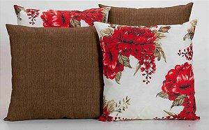 Kit com 4 Capas Para Almofadas Decorativas Estampa Marrom com Flores Vermelhas