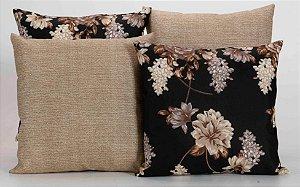 Kit com 4 Capas Para Almofadas Decorativas Estampa Preta com Flores Palha