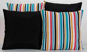 Kit com 4 Capas Para Almofadas Decorativas Estampa Preta com Listrado Colorido