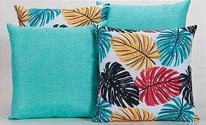 Kit com 4 Capas Para Almofadas Decorativas Estampa Azul Turquesa com Folhas Coloridas