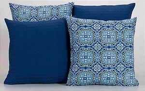 Kit com 4 Capas Para Almofadas Decorativas Estampa Crystal Azul