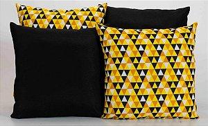 Kit com 4 Capas Para Almofadas Decorativas Estampa Geométrica Amarelo com Preto