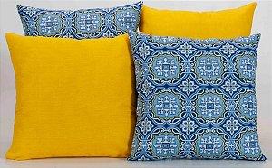 Kit com 4 Capas Para Almofadas Decorativas Estampa Crystal Amarelo e Azul