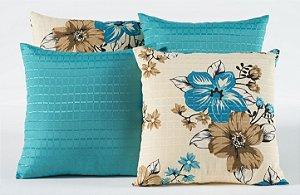 Kit com 4 Capas Para Almofadas Decorativas Estampa Flores Azul Turquesa