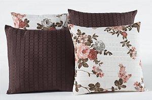 Kit com 4 Capas Para Almofadas Decorativas Estampa Tabaco com Flores Rosa