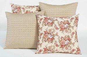 Kit com 4 Capas Para Almofadas Decorativas Estampa Palha com Flores Rosa