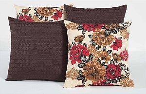 Kit com 4 Capas Para Almofadas Decorativas Estampa Tabaco com Flores Coloridas