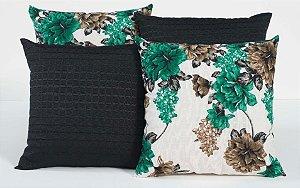 Kit com 4 Capas Para Almofadas Decorativas Estampa Preto com Flores Verde Marinho