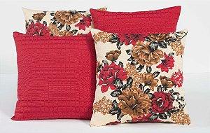 Kit com 4 Capas Para Almofadas Decorativas Estampa Vermelho com Flores Coloridas