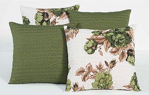 Kit com 4 Capas Para Almofadas Decorativas Estampa Tabaco com Flores Verdes