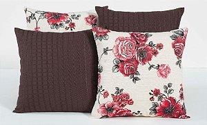 Kit com 4 Capas Para Almofadas Decorativas Estampa Tabaco com Flores Vermelhas