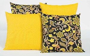 Kit com 4 Capas Para Almofadas Decorativas Estampa Flores Amarelas