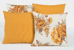Kit com 4 Capas Para Almofadas Decorativas Estampa Flores Laranja