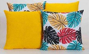 Kit com 4 Almofadas Decorativas Estampa Amarelo com Folhas Coloridas