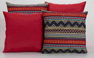 Kit com 4 Almofadas Decorativas Estampa Vermelho com Listras Coloridas