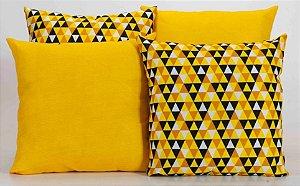 Kit com 4 Almofadas Decorativas Estampa Geométrico Amarelo