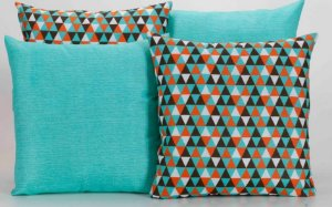 Kit com 4 Almofadas Decorativas Estampa Geométrico Azul Turquesa