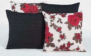 Kit com 4 Almofadas Decorativas Estampa Preto com Flores Vermelhas