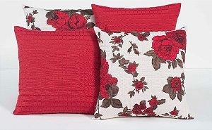 Kit com 4 Almofadas Decorativas Estampa Flores Vermelhas