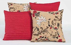 Kit com 4 Almofadas Decorativas Estampa Vermelho com Flores Coloridas