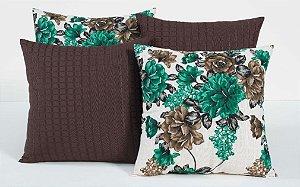 Kit com 4 Almofadas Decorativas Estampa Tabaco com Flores Verde Marinho