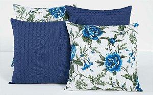 Kit com 4 Almofadas Decorativas Estampa Flores Azuis