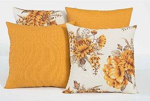 Kit com 4 Almofadas Decorativas Estampa Flores Laranja