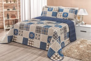 Kit Cobre Leito Floratta Casal Queen 3 peças Geométrico Azul