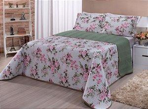 Kit Cobre Leito Floratta Casal Queen 3 peças Floral Rosa