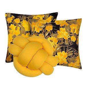 Kit 2 Almofadas Decorativas cheias mais Almofada Nó Amarelo