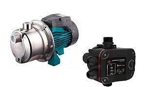 Pressurizador De Agua Lepono Ajm45sl 0,6hp Mono 110v Com Controlador De Pressao Aps-2.1