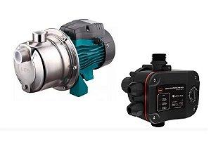 Pressurizador De Agua Lepono Ajm45sl 0,6hp Mono 220v Com Controlador De Pressao Aps-2.1