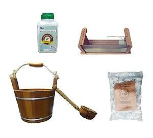 Kit P/ Sauna Seca Impercap Balde+Luminaria+Pedras+Essencia