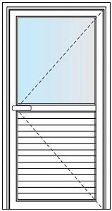 Porta De Giro Com 1 Folha (1/2 Lambril 100 mm e 1/2 Vidro)