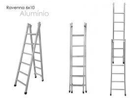 Escada Extensiva 2 em 1 - Metalmix (6x10 degraus)