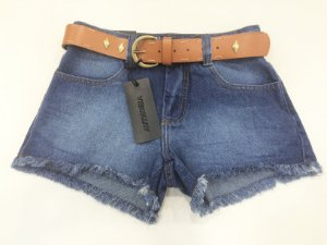 SHORTS JEANS COM CINTO CAMEL AUTHORIA