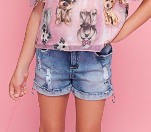 SHORT JEANS FITA LATERAL PITUCHINHUS