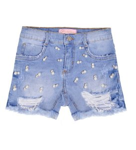 SHORTS JEANS COM BORDADOS PITUCHINHUS