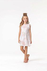 Vestido com sobreposição em tule Petit Cherie