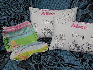 Kit Almofada de colorir + Mascara de Dormir + Necessaire
