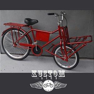 FoodBike Work Vermelha Cereja - Bicicleta Cargo Carga Aro 26 BikeFood
