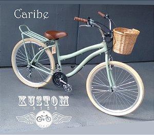 Bicicleta Vintage Verde Caribe - Cesta Vime Banco Couro 18 Marchas