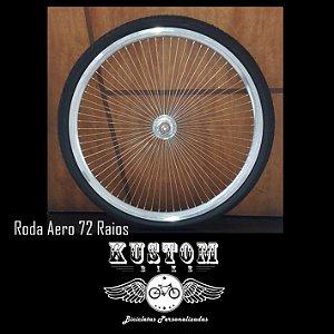 Par de Roda Aro Polido com 72 Raios - Lowrider Lowbike Old School Custom Vintage Chopper Retrô Vintage Cruiser