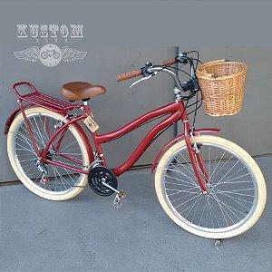 Bicicleta Feminina Vintage Retrô c/ Cestinha Vime e Bagageiro Traseiro Vermelho Cereja