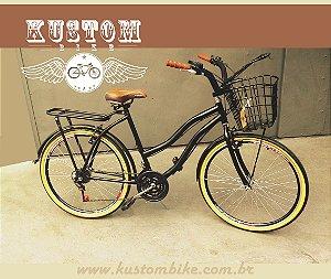 Bicicleta Feminina Vintage Retrô c/ Cestinha Vime e Bagageiro Traseiro e Manopla Marrom