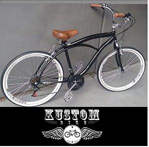 Bicicleta Retrô Vintage - Inspired Harley Paralama Cruiser Manopla Marrom