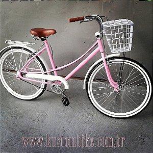 Bicicleta Feminina Retrô - Vintage Antiga - Aro 26 Caiçara Rosa Cestinha