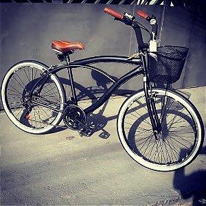 Bicicleta Beach Caiçara - Retrô Vintage Inspired Harley Selim Marrom