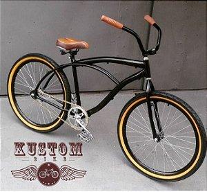 Bicicleta Black - Cruise Beach Caiçara - Retrô Vintage Aro 26 Preta