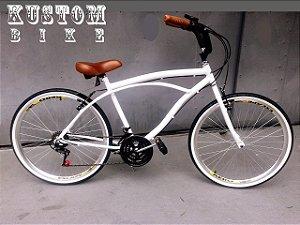 Bicicleta Cruiser Branca - Beach Bike Caiçara - Retrô Vintage Inspired Harley Branco